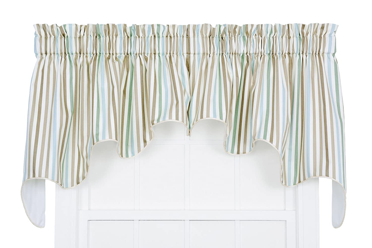 Ellis Curtain Line-Up Stripe Print Lined Duchess Valance, 100 by 30-Inch, Latte