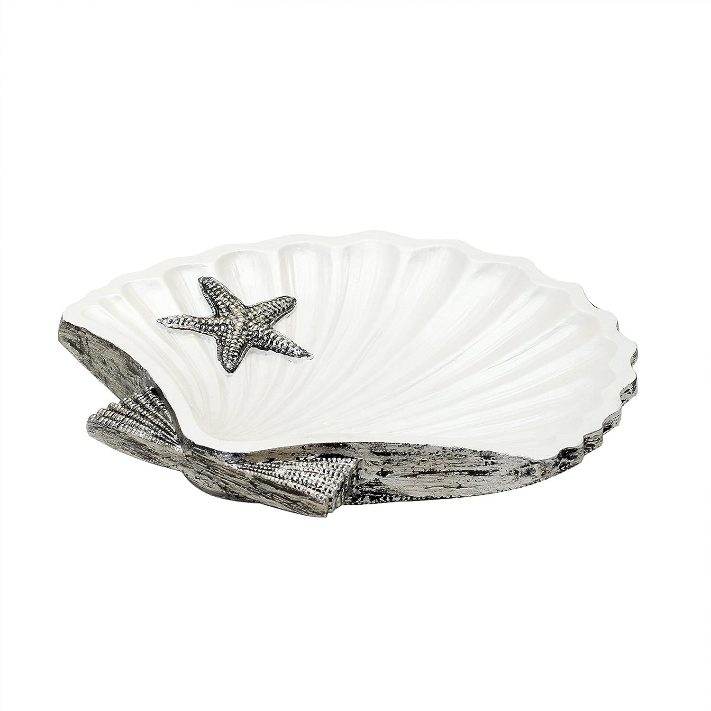Zenna Home India Ink Beach Cottage Soap Dish, Black/White
