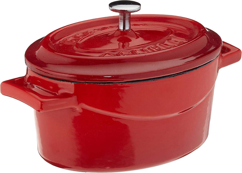 Ollas Agnelli cocción Lenta Oval Cazuela con Dos Asas, de Hierro Fundido, Rojo, 0.4 litros