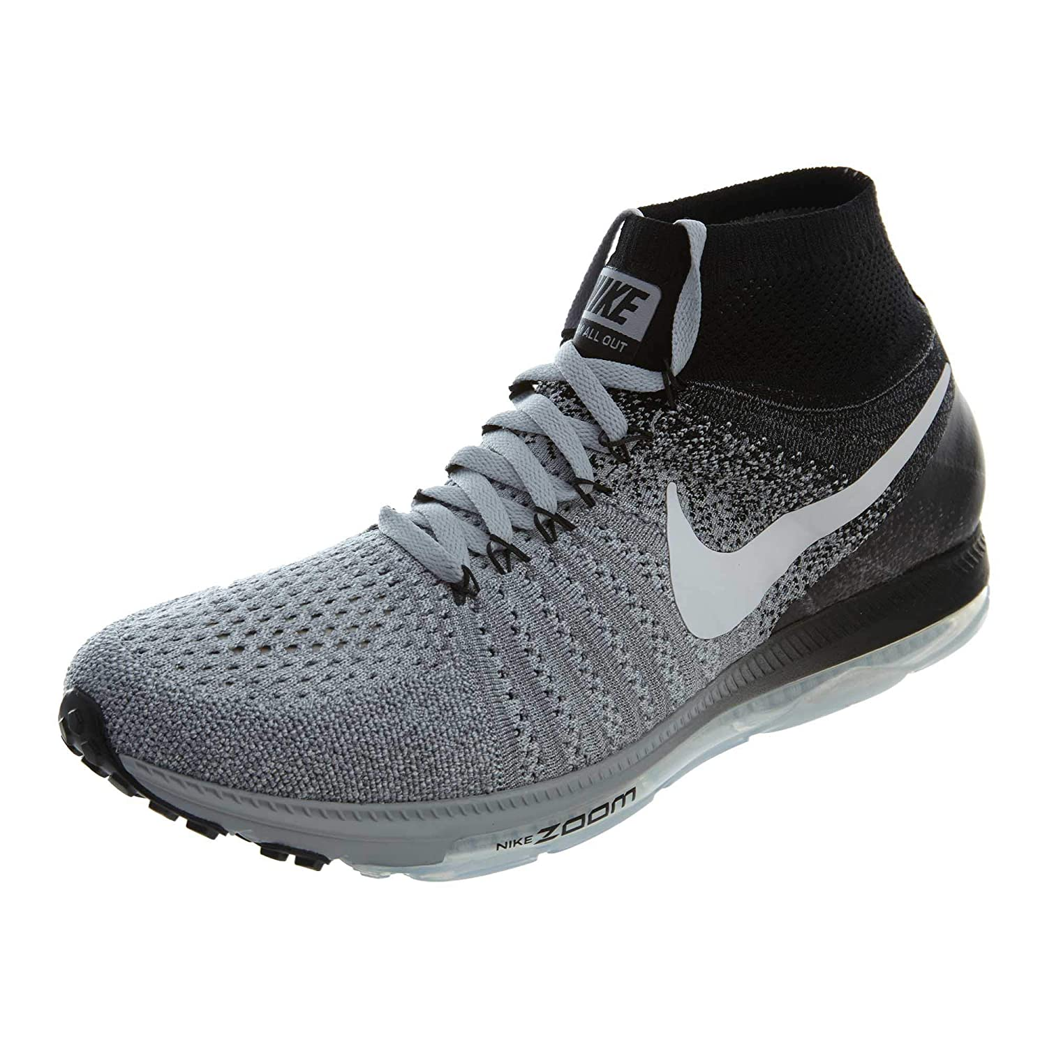 56d959fa1ac0a Amazon.com | Nike Men's Zoom All Out Flyknit, WOLF GREY/WHITE-BLACK ...