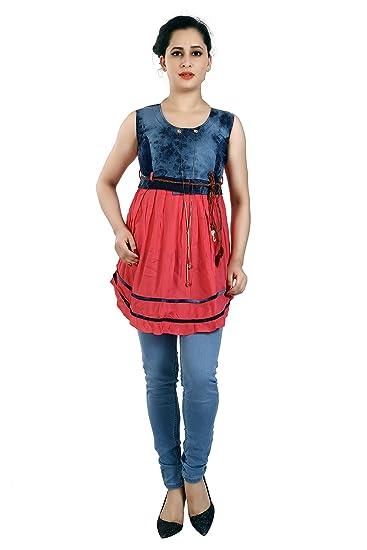 d95452f750c FCK-3 Women's Stylish Denim Knee Length Free Size Dress: Amazon.in: Clothing  & Accessories