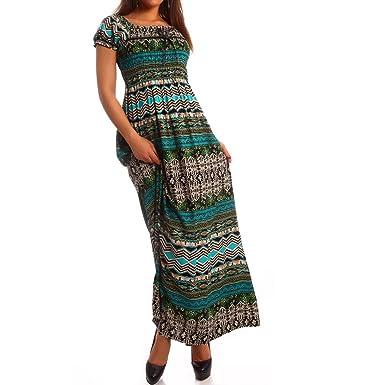 Maxi-Kleid Carmen Kurzarm und mit Ausschnitt - als Stylisches Strand ...
