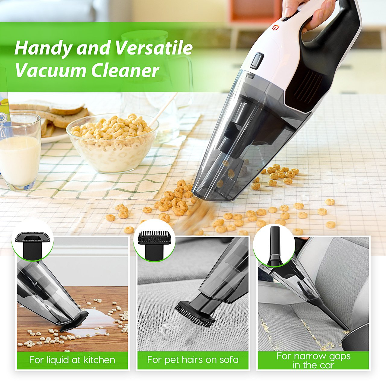 Handheld Vacuum Cordless, Holife 6KPA Hand Vacuum Cleaner Rechargeable Hand Vac, 14.8V Lithium with Quick Charge, Lightweight Wet Dry Vacuum for Home Pet Hair Car Cleaning (Upgraded Version) by HoLife (Image #8)