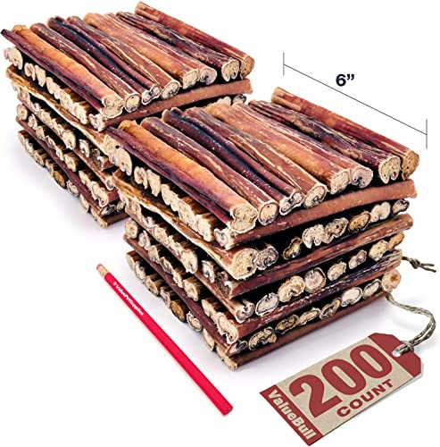 ValueBull Bully Sticks for Dogs, Thick 6 Inch, 200 Count – All Natural Dog Treats, 100 Beef Pizzle, Single Ingredient Rawhide Alternative, Grass Fed, Fully Digestible
