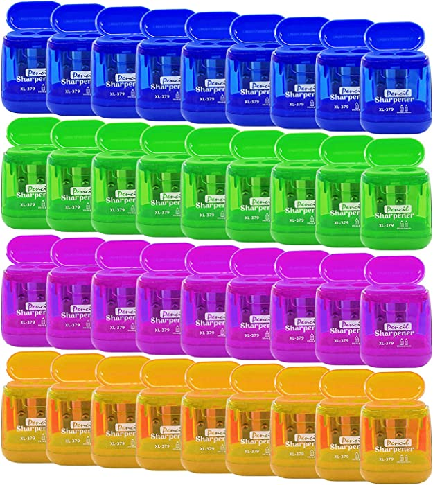 Alpurple 36 PCS Double Holes Manual Pencil Sharpener-Handheld Plastic Crayon Sharpener with Lid for School, Office and Home Supplies