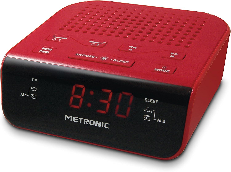 Metronic 477033 Radio Réveil Double Alarmes Tuner AMFM et Fonctions SleepSnooze, Piles de Sauvegarde de l'heure, mémoire 10 AM + 10 FM Gris Bleu