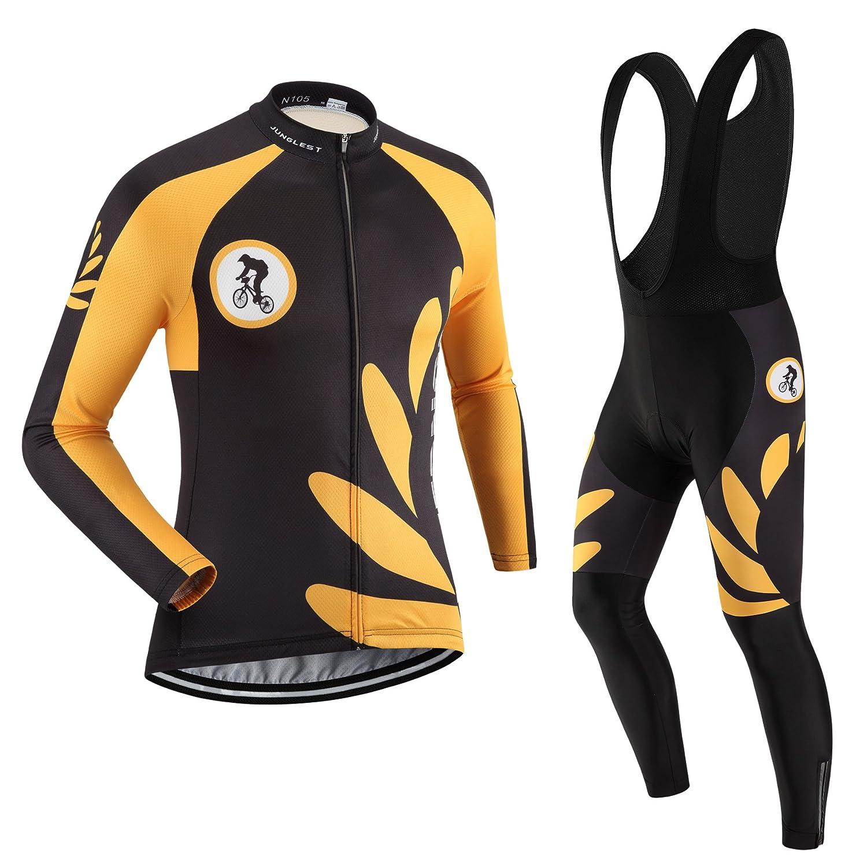 Cycling Jersey Set Wen長袖(S ~ 5 X L、オプション:よだれかけ、3dパッド) n105 B01BUHBBRW  種類: セット(ブラック前掛け) XXXL(2.8cm 3D pad)(186-192cm/90-94kg)