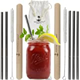 Zero Waste Reusable Straws with Case - Say No to Plastic! Just Sip & Store - 5 Metal Stainless Steel Straws, 2 Wooden Travel Cases, 2 Cleaning Brush + Canvas Carrying Pouch - Eco Friendly Travel Straw