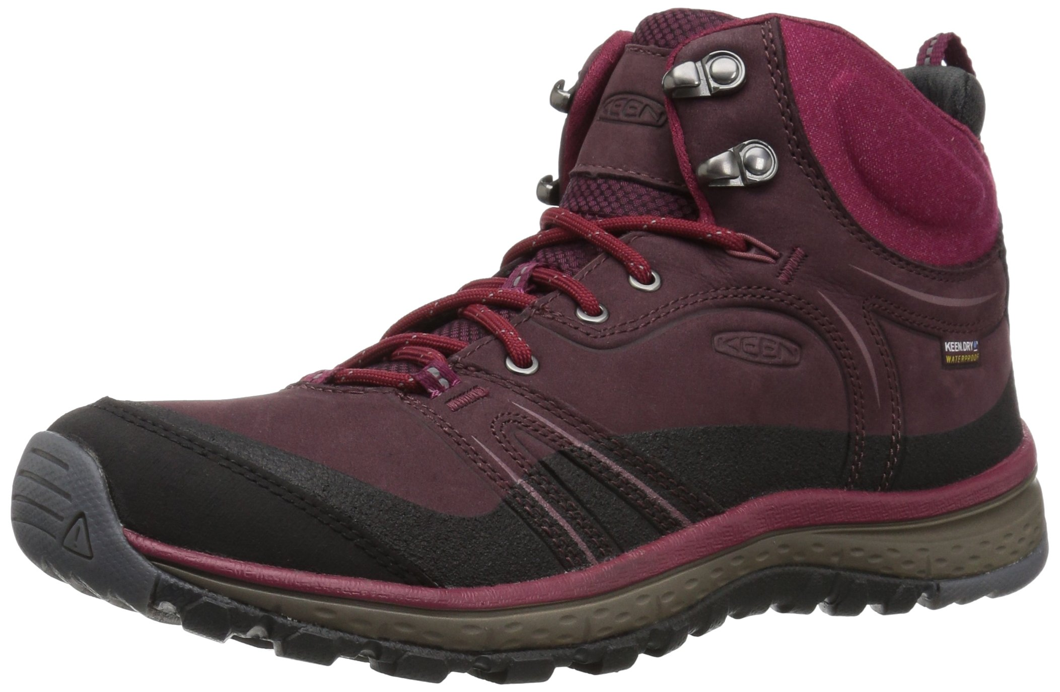 KEEN Women's Terradora Leather Mid Wp-w Hiking Shoe, Wine/Rododendron, 7 M US