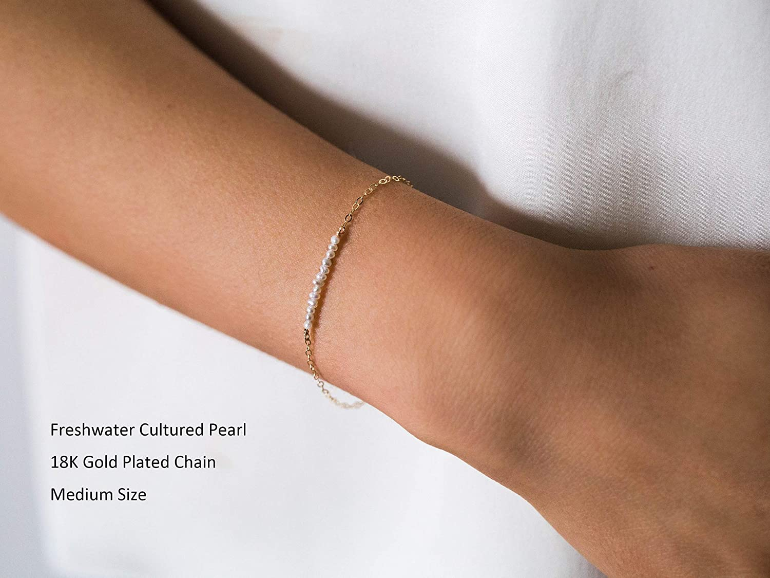 Single Chain Strand Bracelet Pearl Cable Chain Bracelet Pearl 14K Gold-filled Chain Bracelet Gold Gold Chain Bracelet Chain Bracelet