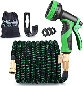 Expandable Garden Hose 50FT Lawns Water Hose with 9 Function High Pressure Spray Nozzle, Flexible Strength Retractable Leakproof Gardening Pine, Durable 3 Latex Core & 3/4