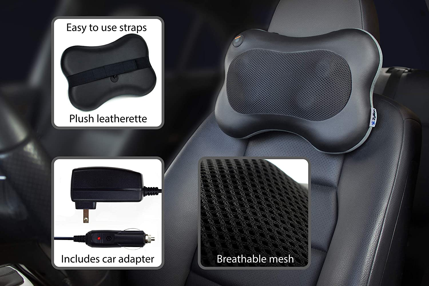 Zyllion Shiatsu Back and Neck Massager - Kneading Massage Pillow with Heat for Shoulders, Lower Back, Calf - Use at Home and Car, Black, (ZMA-13-BK): Home & Kitchen