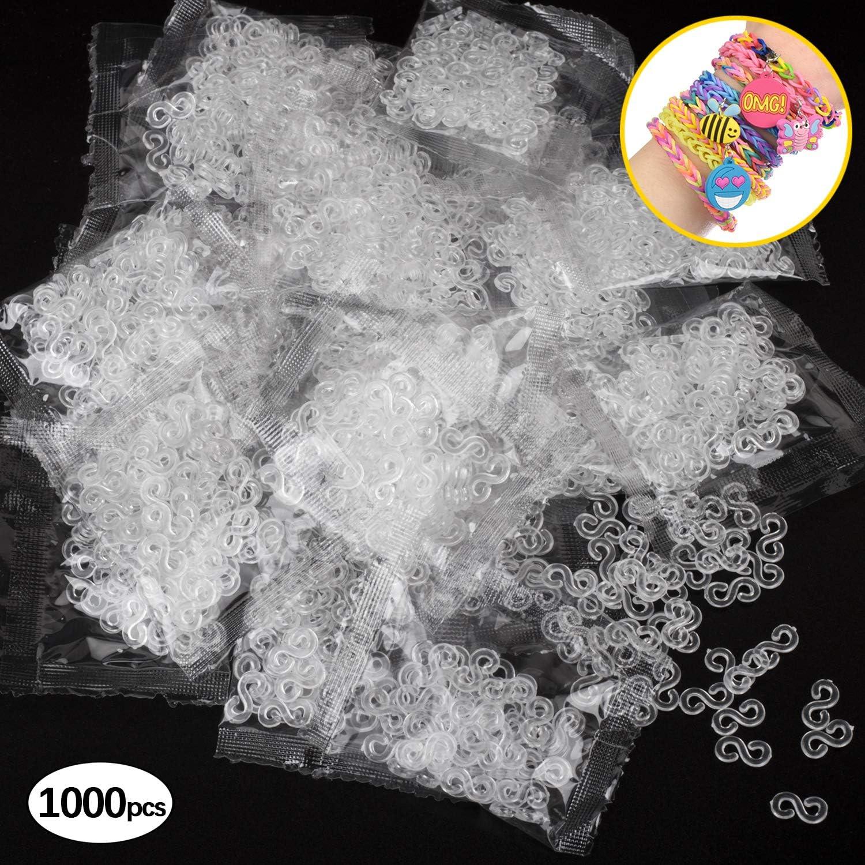 Clear 1000pcs S Shape Clips Plastic Connectors Refills Kit Clips for DIY Loom Bracelets Rubber Band Clips