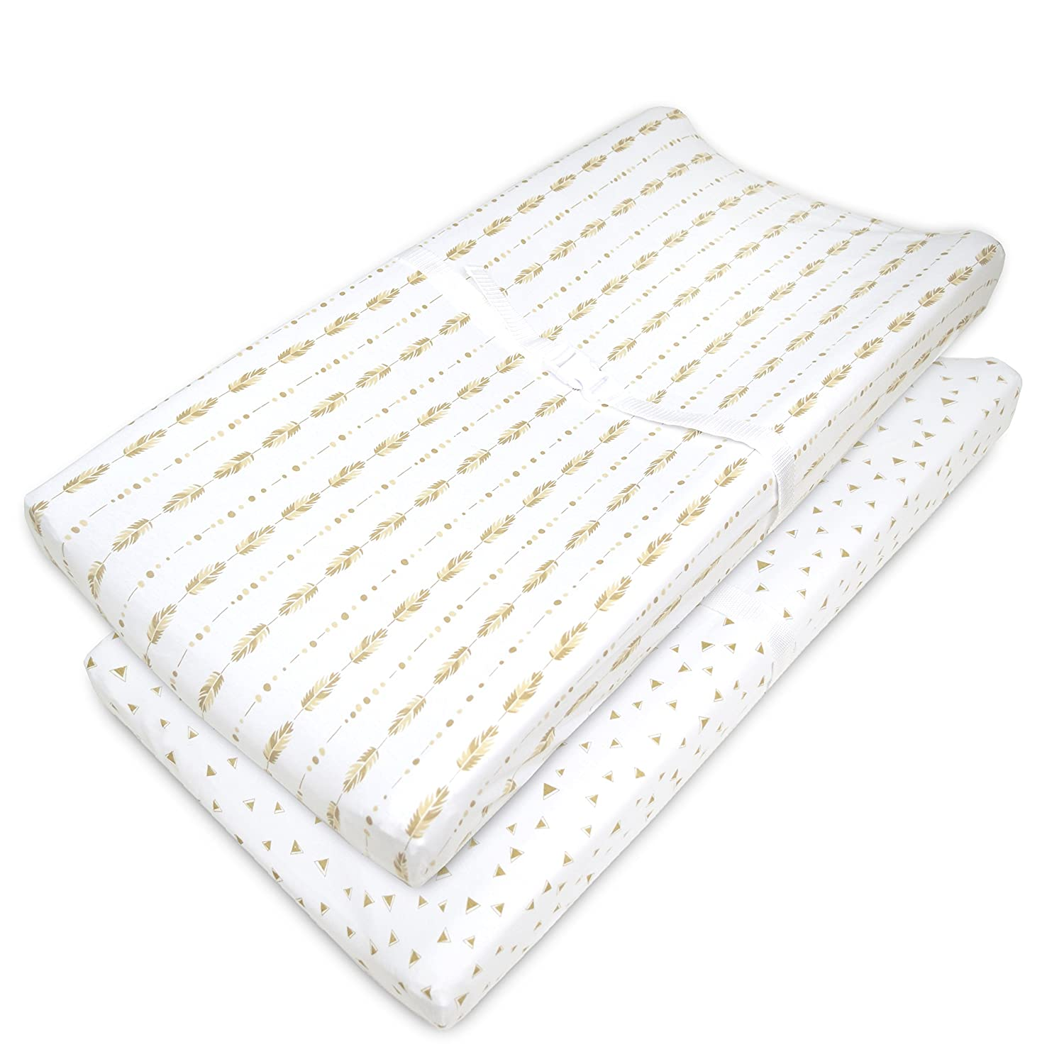 American Baby Company Printed 100% Cotton Jersey Knit Fitted Contoured Changing Table Pad Cover, also works with Travel Lite Mattress,Sparkle Gold/Pink Feathers 3555-GP/FE