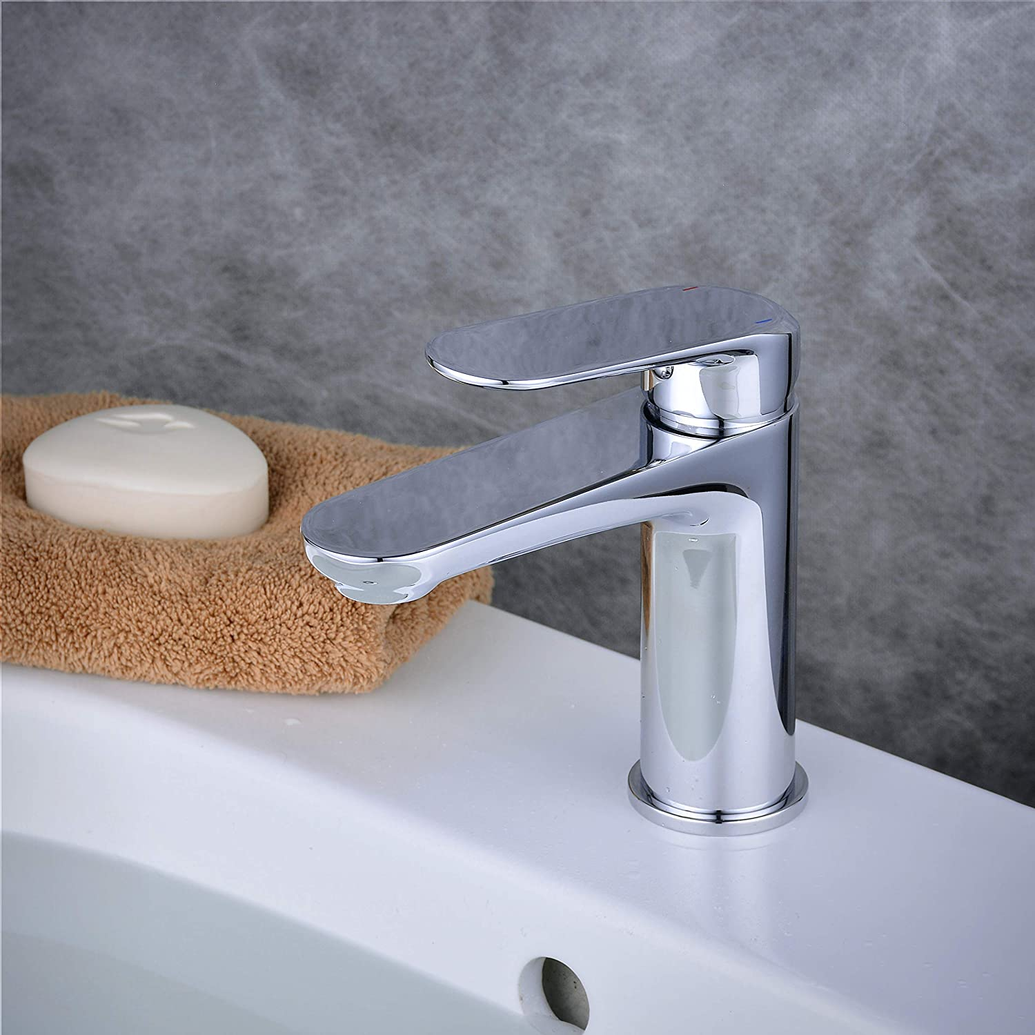 Chrome-1 Bathroom Sink Tap with Single Lever, Hot and Cold Mixer Basin Tap, Polished Chrome Tall Body, Beelee BL6697H