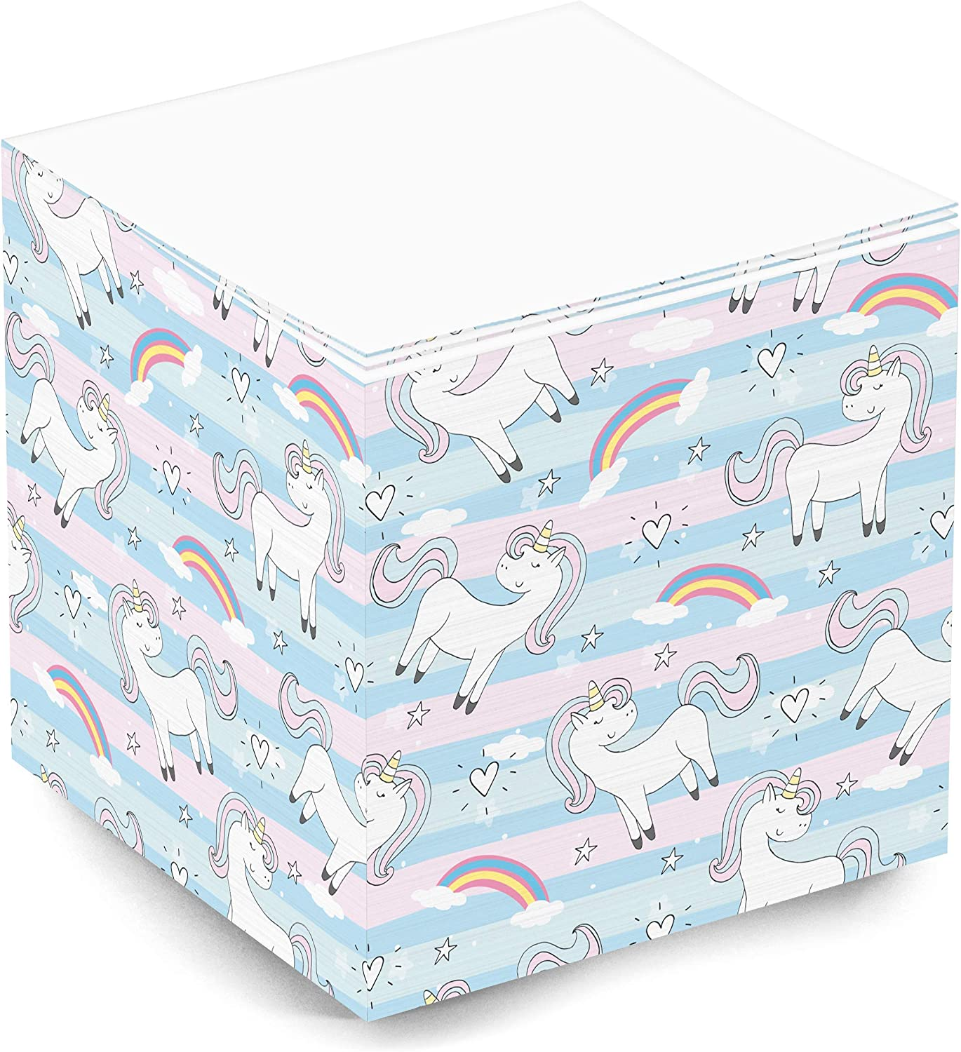 500 Sheet 3.5x3.5x3.5 Inch Non-Sticky Note Cube for School Supplies and Office Supplies Unicorn Non-Sticky Cute and Trendy Blank Note Memo Cube for Teen Girls and Women