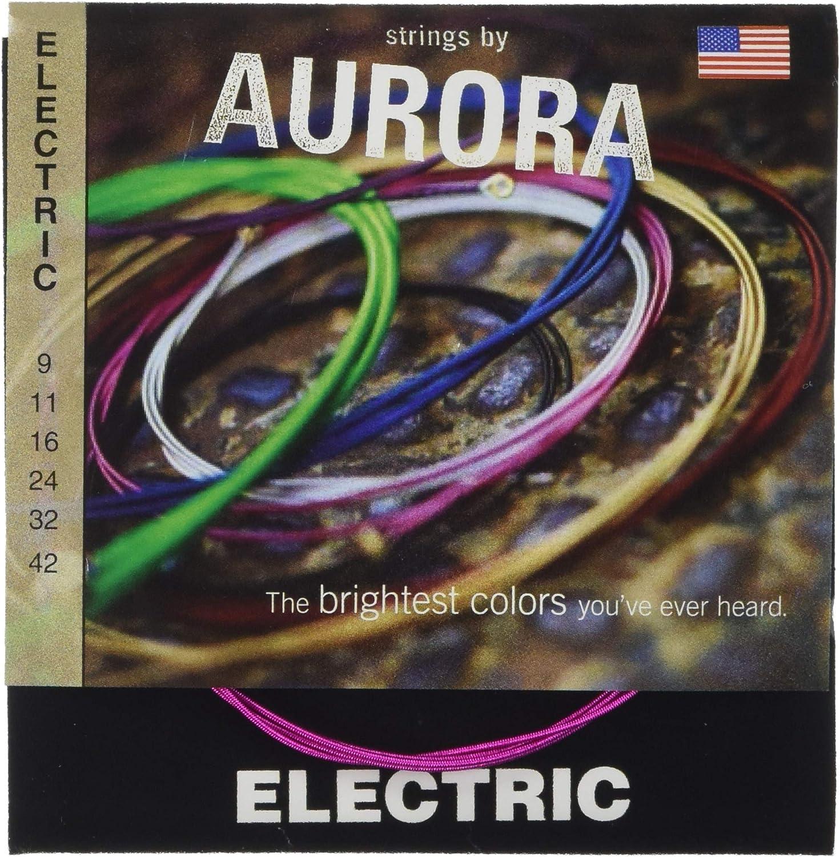 Aurora aurblk9–42Premium Color cuerdas para guitarra eléctrica, Rosa, 9–42