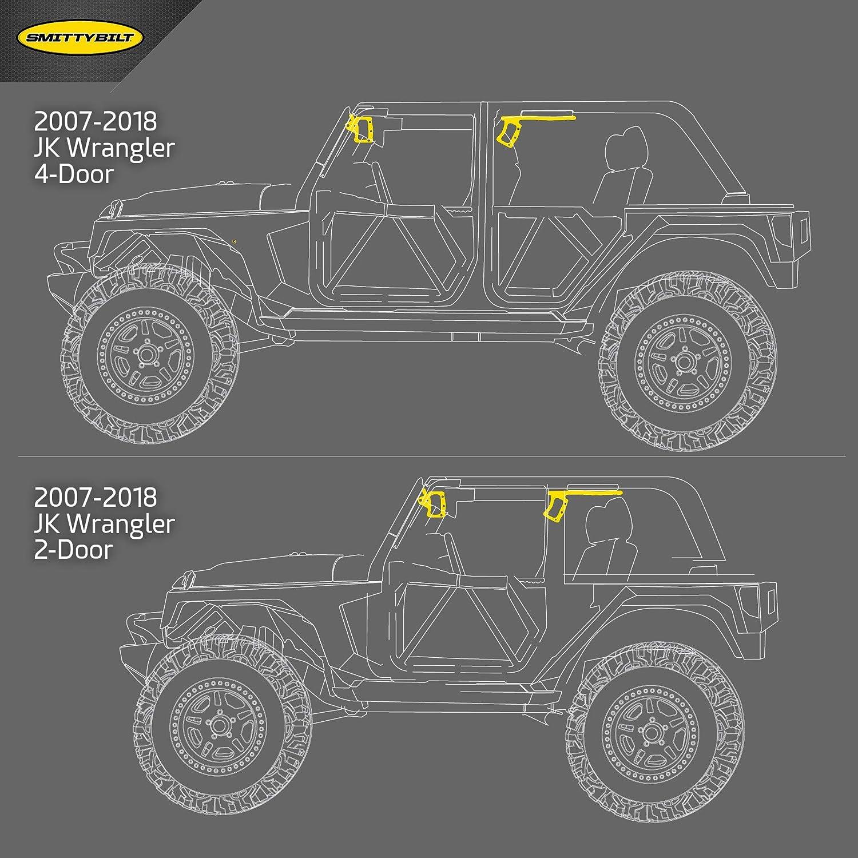 Rear Pair Black Smittybilt 76932 Aluminum Grab Handles for 2007-2018 Jeep JK 2//4-Door
