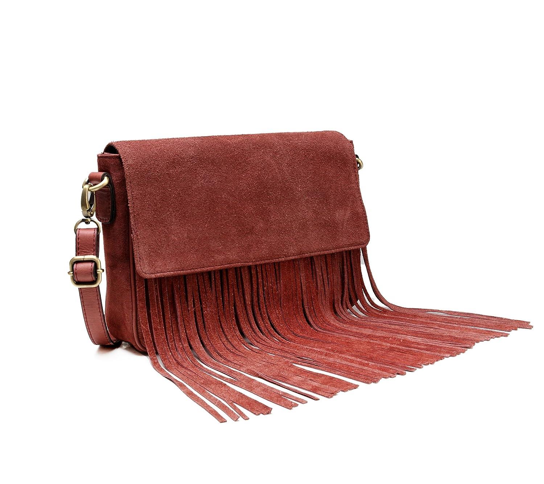 eab31f33555a Vicenzo Leather Allyson Suede Leather Fringe Crossbody Handbag (Brown)   Handbags  Amazon.com