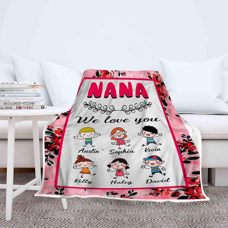 Customized Fleece Blanket For Nana With Grandchildren S Name Grandpa Grandma Nana Gigi Christmas Birthday Grandparents Day Gifts For Them Supersoft And Warm Blanket Home Kitchen