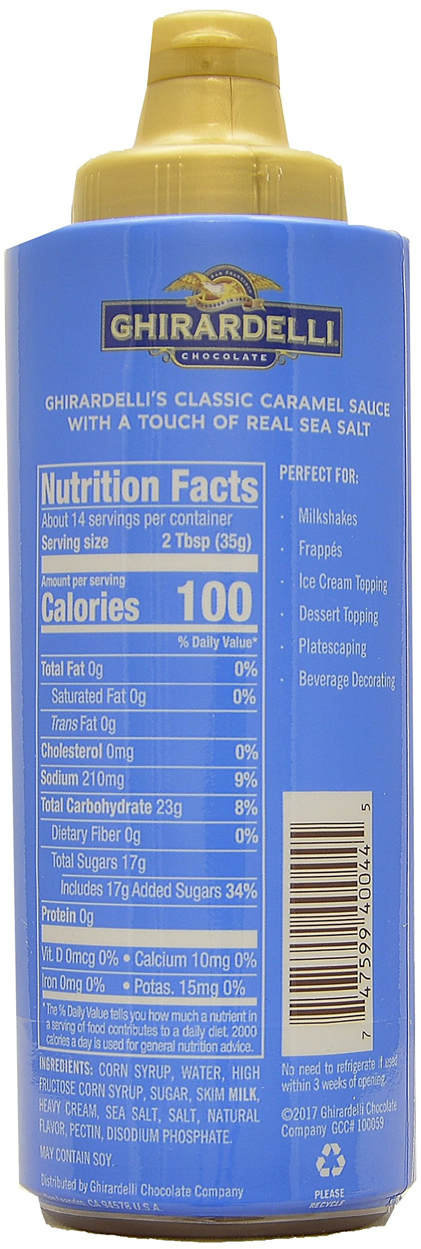 Ghirardelli - 16 Ounce Black Label, 16 Ounce Vanilla, 17 Ounce Caramel, 17 Ounce Sea Salt Caramel Flavored Sauce (Set of 4) - with Limited Edition Measuring Spoon by Ghirardelli (Image #3)