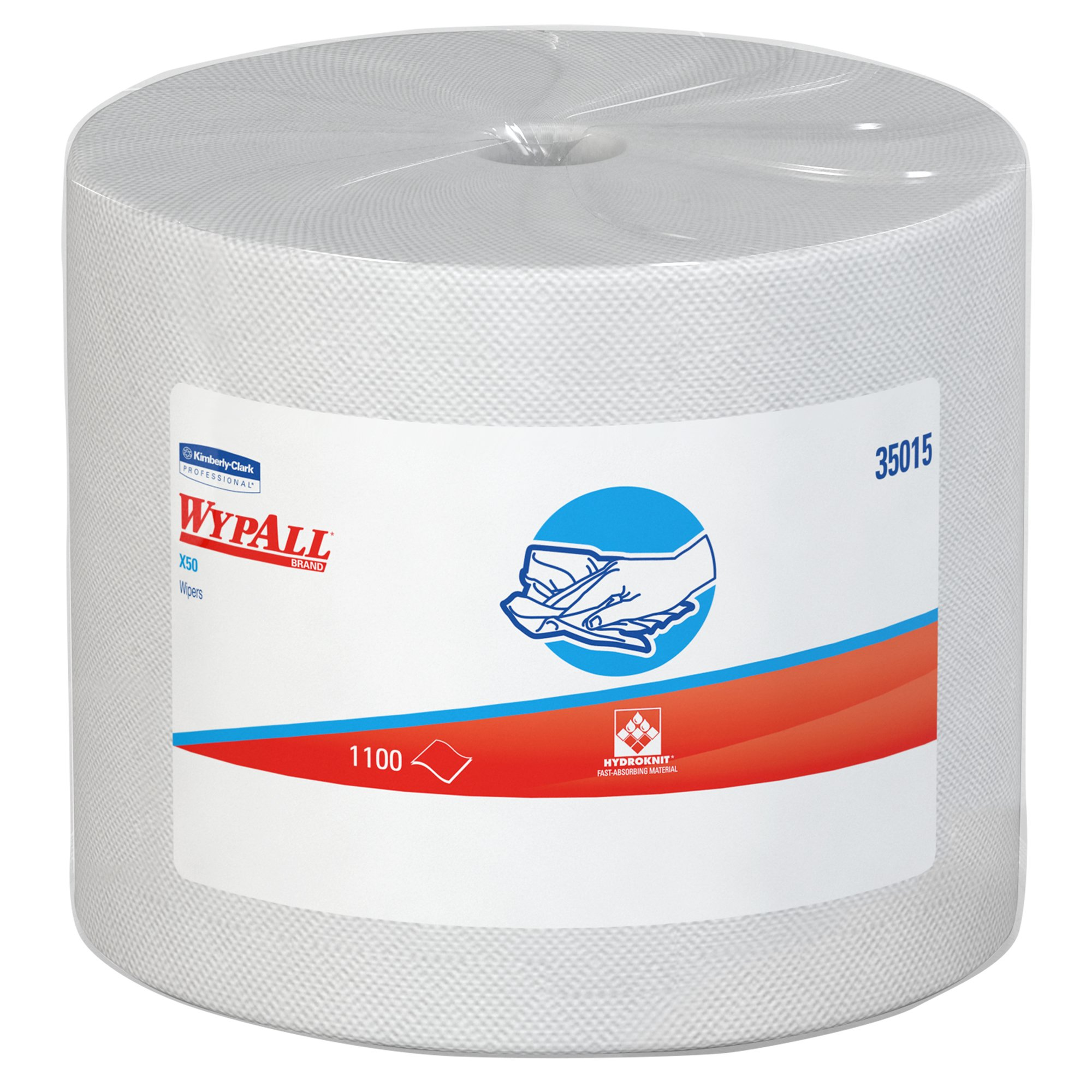 Wypall X50 Disposable Cloths (35015), Strong for Extended Use, Jumbo Roll, White, 1,100 Sheets/Roll
