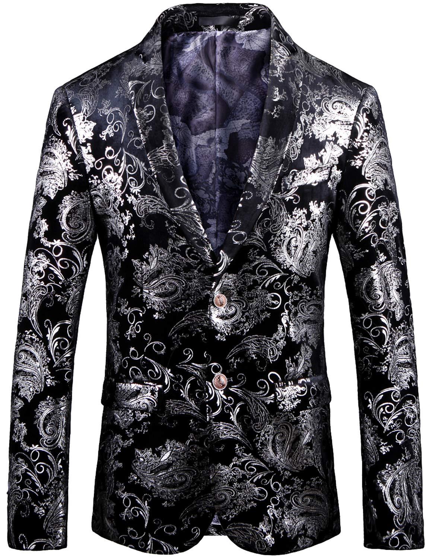 Men's Fashion Glitter Floral Print Suit Slim Fit Blazer Jacket, 7774 Black, L/42 = Tag 58 by HENGAO