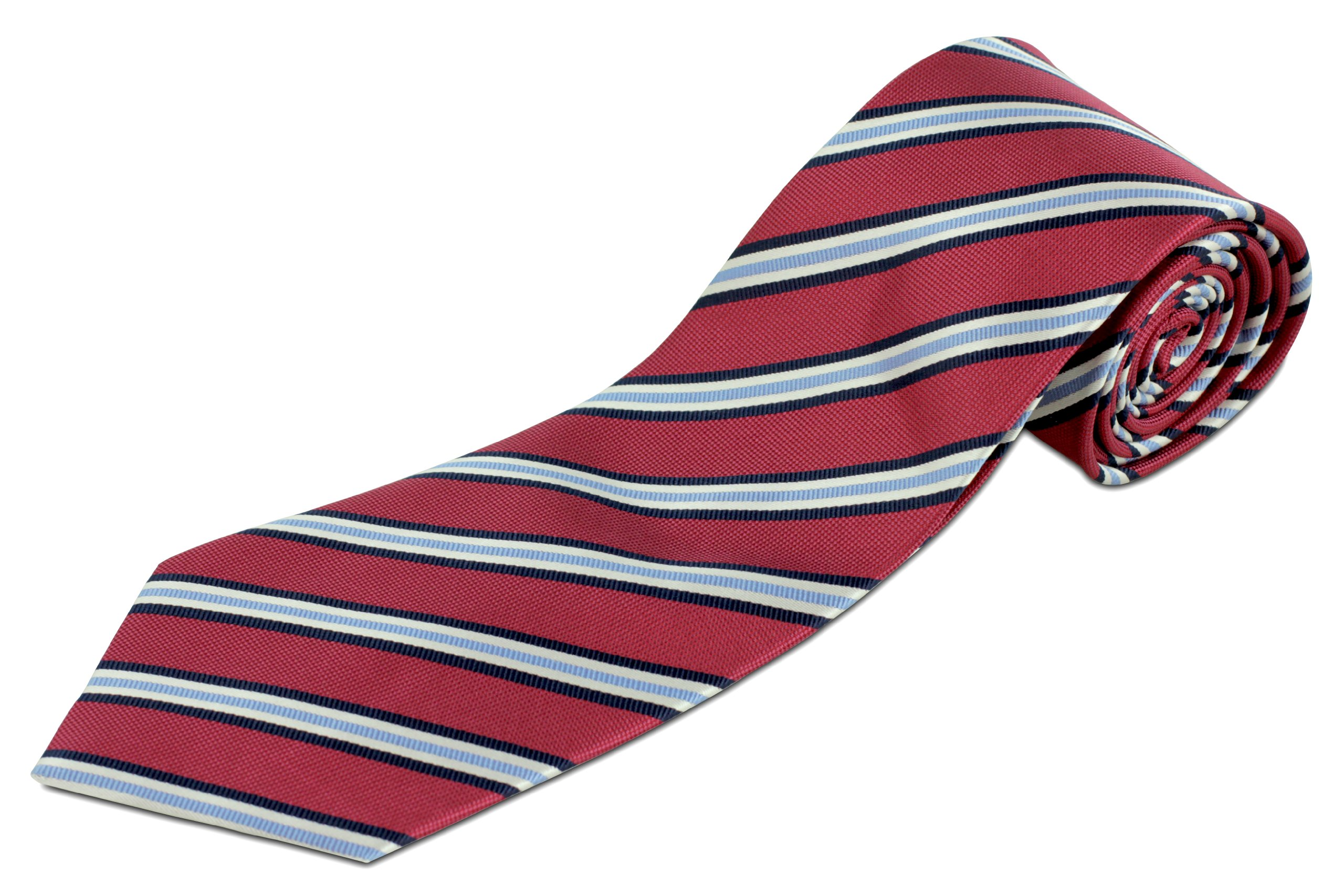 Extra Long Raspberry and Blue Striped Silk Tie