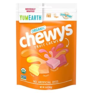 YumEarth Organic Chewys - Allergy Friendly, Non GMO, Gluten Free, Vegan, 5 ounce, 6 Count