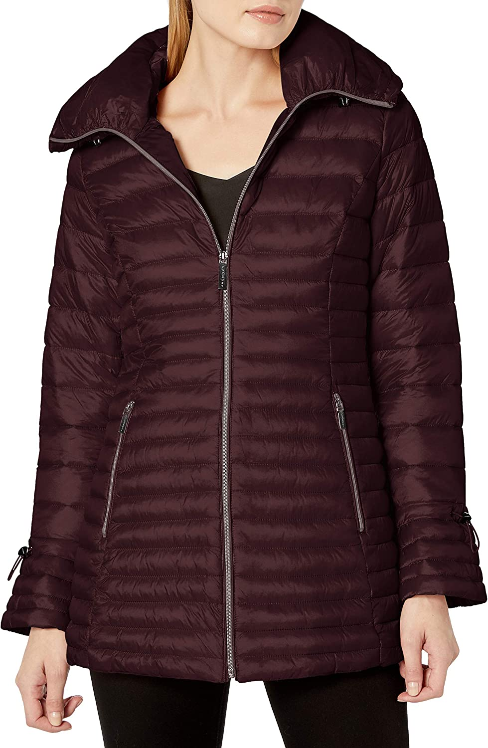 Laundry by Shelli Segal Women's 3/4 Length Lightweight Fit and Flare Puffer Jacket