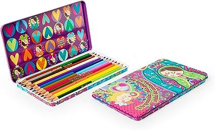 Caja Metálica de Lápices de Colores Bicolor con Representaciones ...