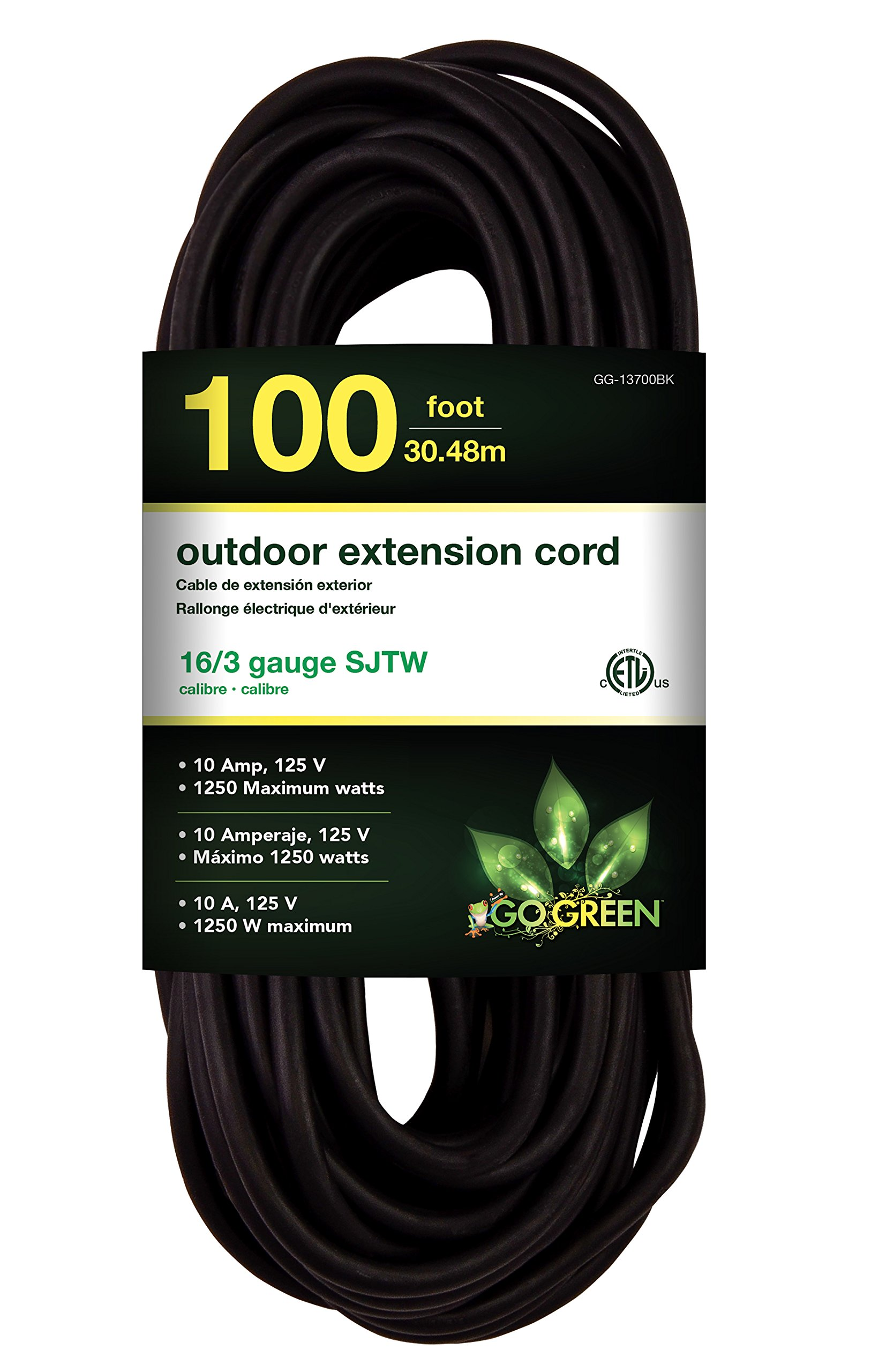 GoGreen Power GG-13700BK - 16/3 100' SJTW Outdoor Extension Cord - Black by Go Green Power Inc.