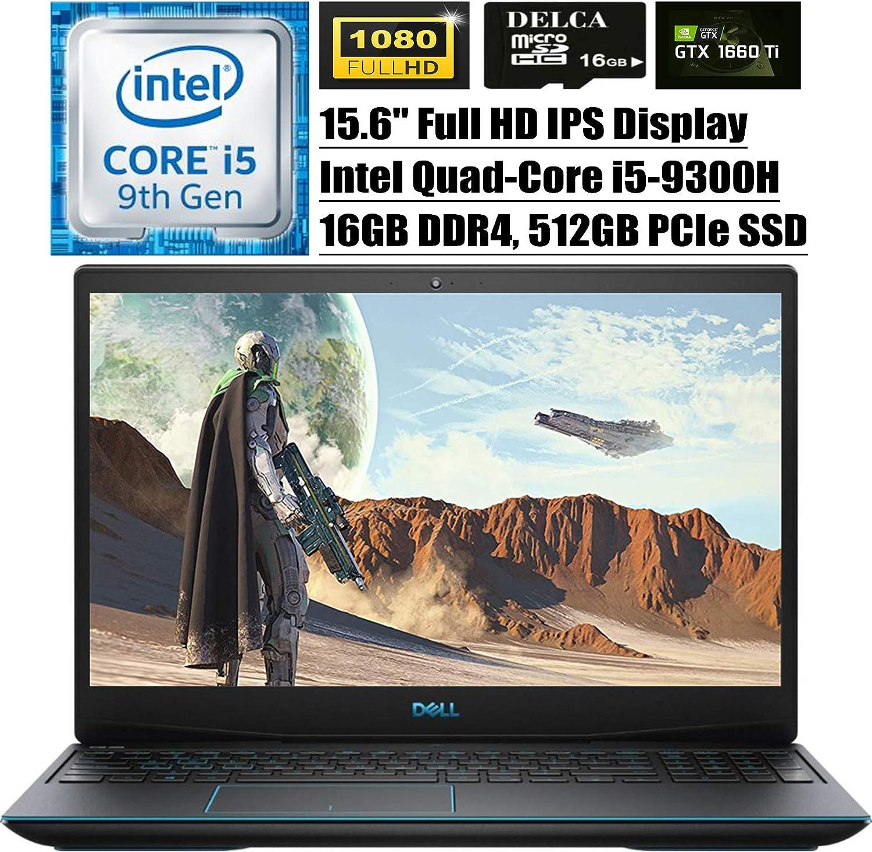 "Dell G3 15 3590 2020 Premium Gaming Laptop I 15.6"" FHD IPS Display I Intel Quad-Core i5-9300H (>i7-7700HQ) I 16GB DDR4 512GB PCIe SSD I 6GB GTX 1660Ti Max-Q Backlit Win 10 + Delca 16GB Micro SD Card"