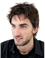 Peluca masculina, para hombre, corto, juvenil, color castaño, deportivo, estilo bravo erizado, bien estiloso, moderno, informal, cardado, nuevo GFW1169-6