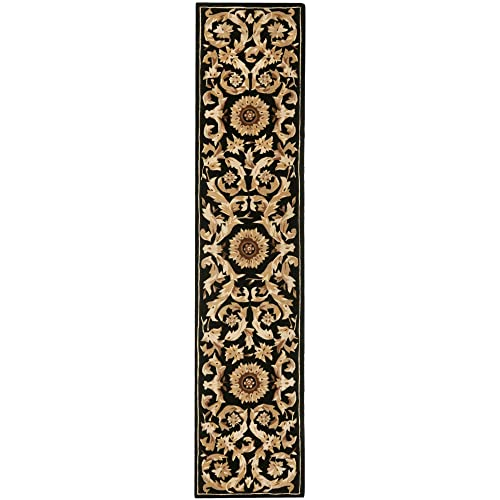 Safavieh Naples Collection Handmade Wool Runner, 2 3 x 12 , Black Gold
