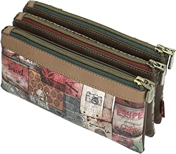 Anekke Estuche con triple compartimento en tono marrón: Amazon.es: Zapatos y complementos