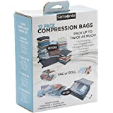 Samsonite Compression Packing Bags, Clear, 12-Piece Kit (2-Pouch/4-Carry-On/4-Large/2-X-Large
