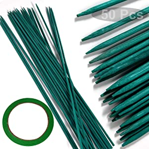 """15"""" Plant Stakes Garden Tomato Sticks Plant Stakes & Supports for Potted Plants,Comes with 1 roll Tape,Pack of 50"""