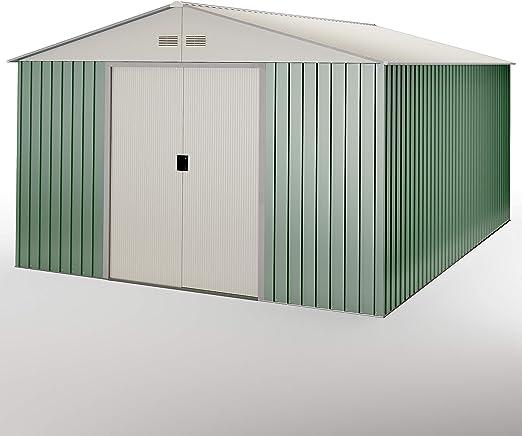 HOGGAR - Caseta metálica Verde/Beige para Almacenamiento 15, 50 m2 ...