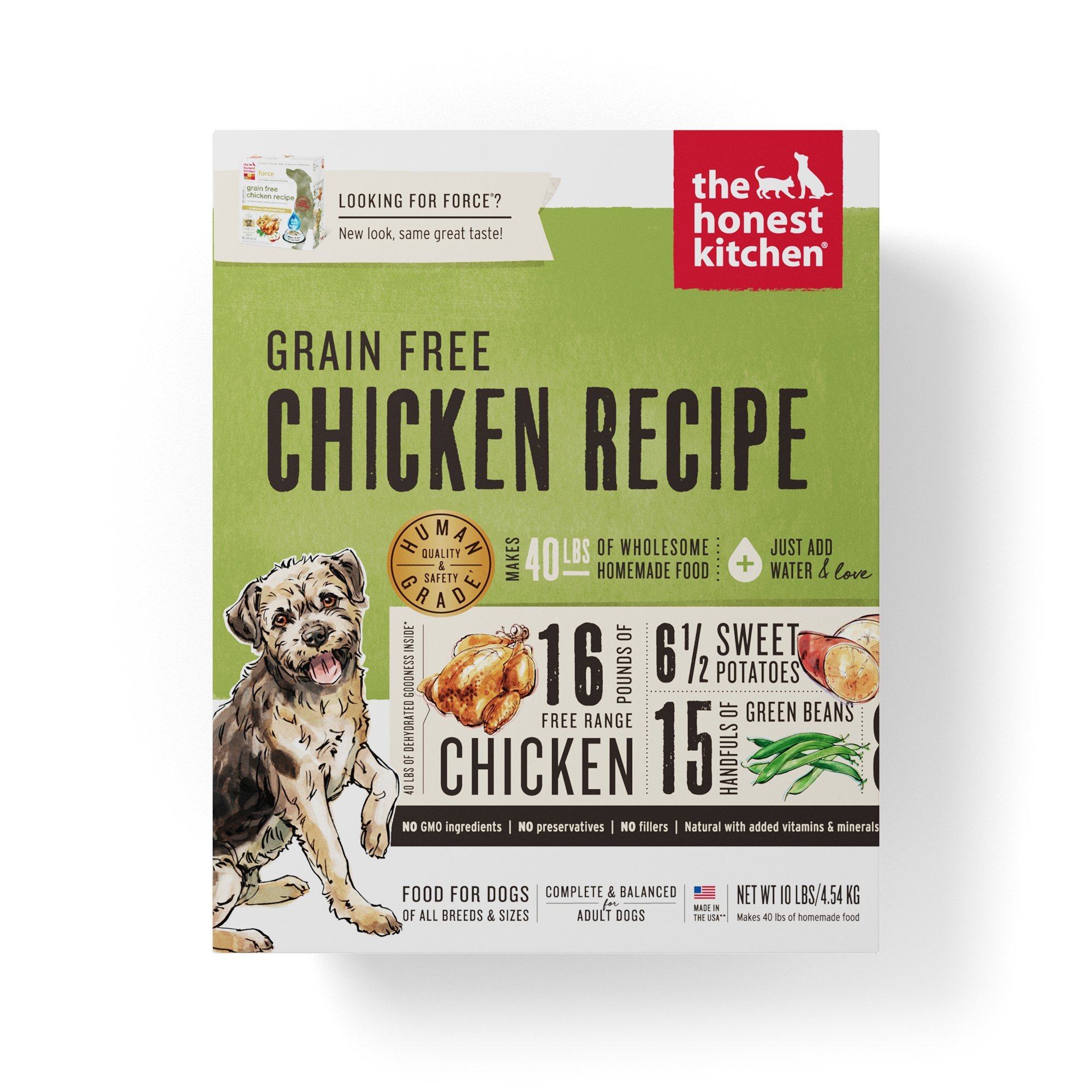 Honest Kitchen The Human Grade Dehydrated Grain Free Chicken Dog Food, 10 lb - Force