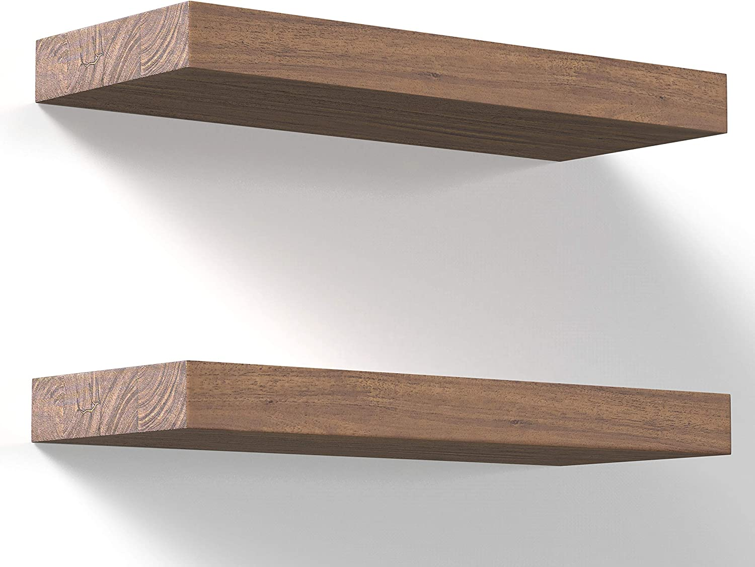 Floating Shelves Wall Mounted 17-Inch - Thick Handmade Set of Dark Brown Wooden Shelf, Natural Rustic Farmhouse Acacia Hard Wood, Solid Shelving for Kitchen, Bathroom, Bedroom Decor - 2 Pack