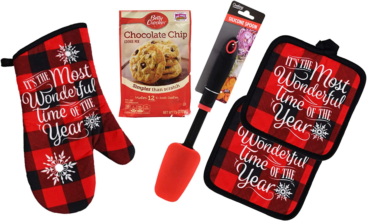 Buffalo Check Kitchen Pot Holders and Oven Mitt Set with Brownie Mix and Spatula - Red & Black Plaid - Modern Farmhouse Decor Set (Most Wonderful Time of The Year)