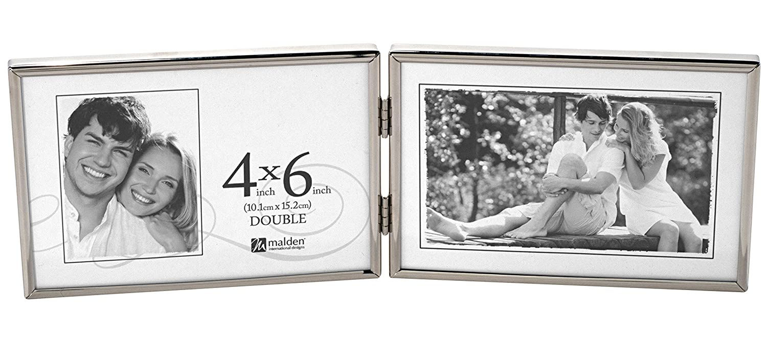 Malden International Designs Simplicity Bright Metal Picture Frames to Hold Double Horizontal 4 by 6-Inch Photo, 4 by 6-Inch Double, Silver 5425-46DH