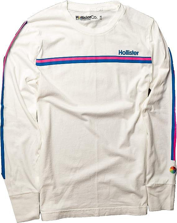 Hollister - Camiseta de Manga Larga para Hombre - Blanco - Large: Amazon.es: Ropa y accesorios