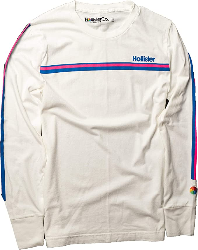 Hollister - Camiseta de Manga Larga para Hombre - Blanco - Large ...