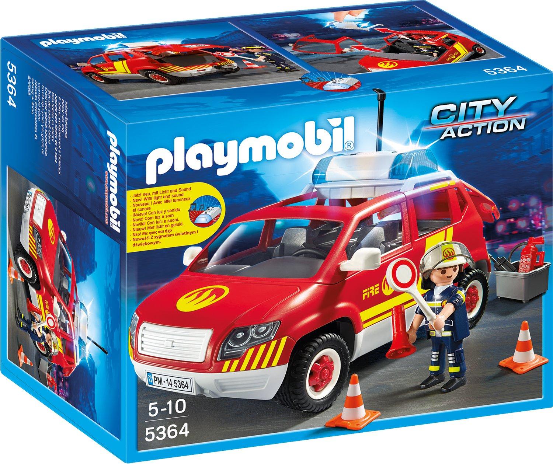 Playmobil Brandmeisterfahrzeug mit Licht und Sound - Feuerwehrstation Playmobil