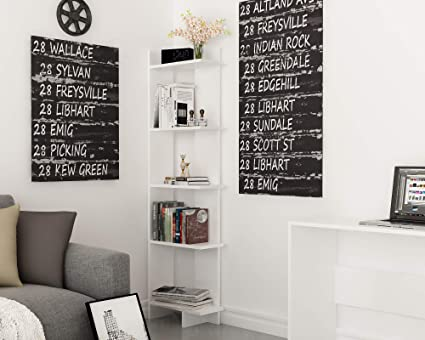 Amazon.com: Decorotika Alice 5-Tier Corner Bookcase Bookshelf ...