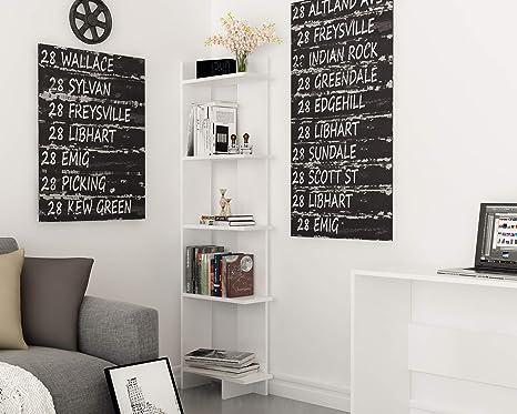Decorotika Alice 5-Tier Corner Bookcase Bookshelf, Storage and Organizer  for Living Room, Dining Room, Bedroom, Kitchen and Bathroom, Multiple Use  ...
