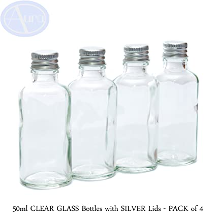 50 ml claro botellas de vidrio con tapa de color plateado – Pack de 4