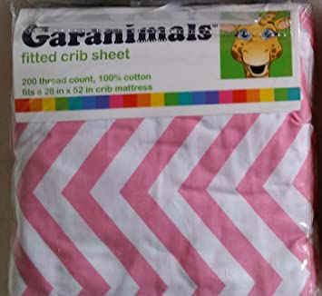 Amazon.com : Garanimals Pink Chevron Fitted Crib Sheet by Garan Inc. : Baby